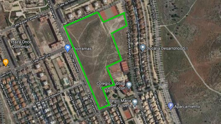 Nuevo parque entre Av. Levante, Manuel Azaña, F. Montseny y Catalina San Martin